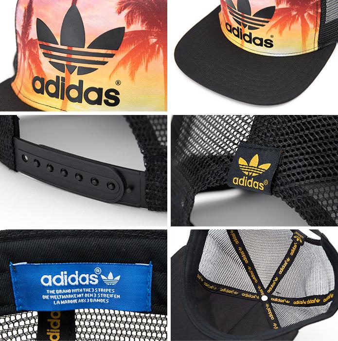 [아디다스 オリジナルス 캡] 팜 트래커 캡 클로버 フラットブリム adidas Originals TRUCKER PALM S20563 레이디스 맨 즈 메쉬 캡 모자