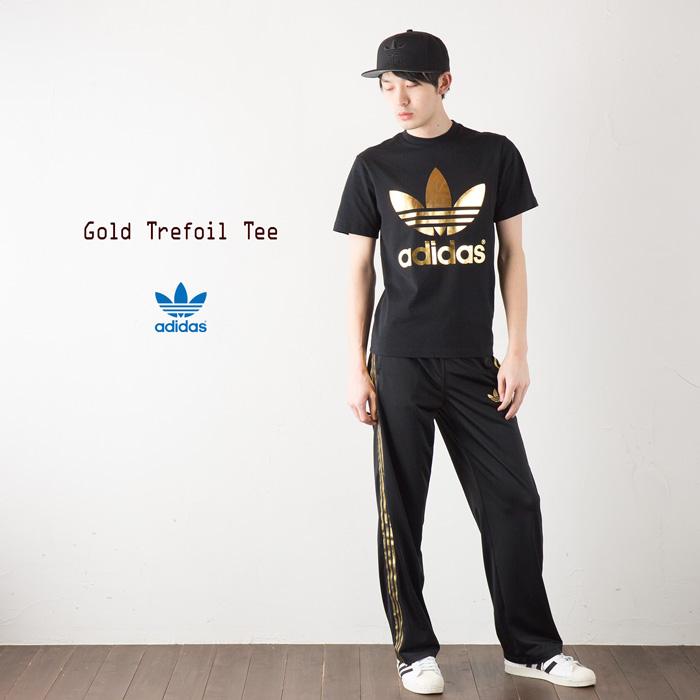 [아디다스 オリジナルス] 포 클로버 T 셔츠 [검정/메탈 골드] adidas originals FOIL TEE SHIRT S92516