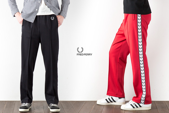 Fred Perry Jersey roller taped track pants FRED PERRY LAUREL TAPED TRACK PANT F4320 EYESCREAM ice cream April issue published models