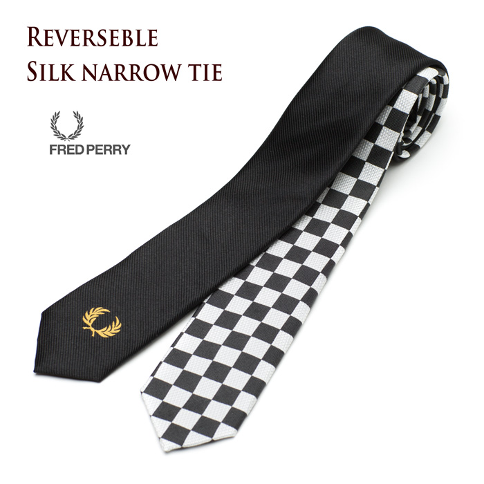 [Fred Perry tie, reversible silk knit in black/Checker FRED PERRY SILK NARROW TIE F19669-07