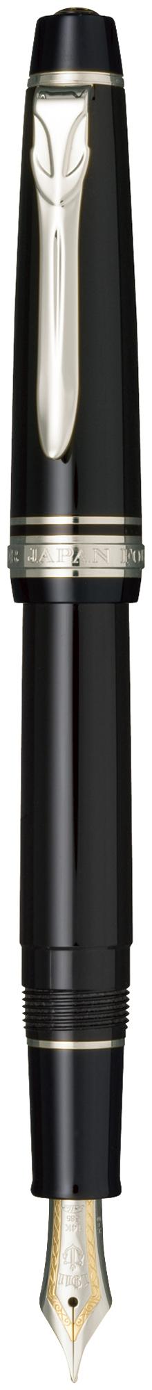 セーラー万年筆 プロフェッショナルギアΣ スリム 銀 ブラック 中字 11-1518-420 プロギア シグマ 定番品 初心者 初めての人 細い 大人 クリップ 14金バイカラー 中型 ニッケルクロムメッキ ギフト 贈り物 ビジネス フレッシャーズ