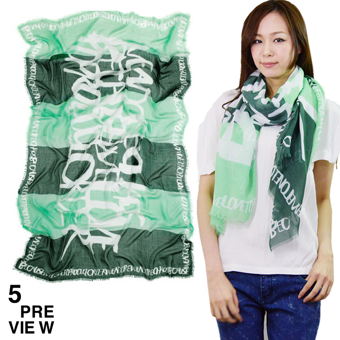 """5preview ファイブプレビュー""""BOOGIE Scarf""""グリーンボーダーストール 大判ストール レーヨン(春夏)【メール便不可】【正規品】【EA】【40】【SALE】【30】"""
