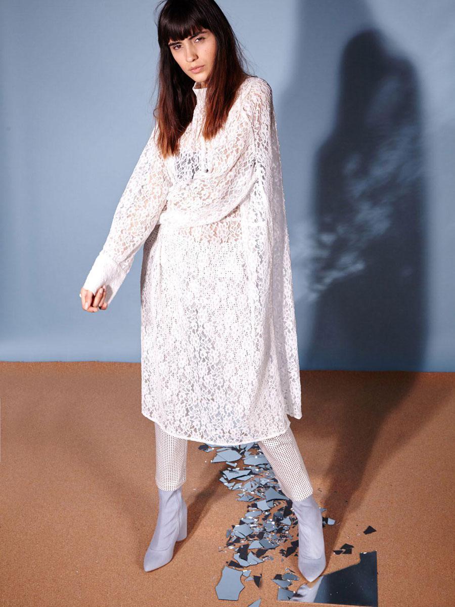 【SALE30%】 GHOSPELL Lace Smock Midi Dress ワンピース レース ロングスリーブ【メール便不可】【正規品】【あす楽対応】