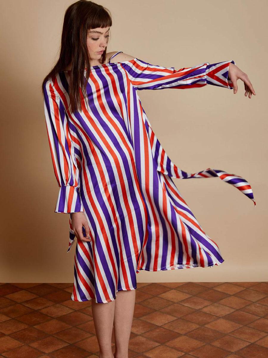 【SALE40%】【2018S/S新作】 GHOSPELL ゴスペル Plumful Asymmetric Dress ワンピース ロング ワンショルダー ストライプ【メール便不可】【正規品】【あす楽対応】