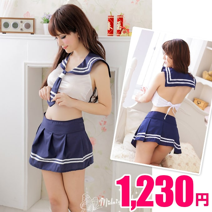 Students dress tops wrap skirt set school miniskirt marine belly button out  MoE direction fashion one size fits all--cosplay universe Department-