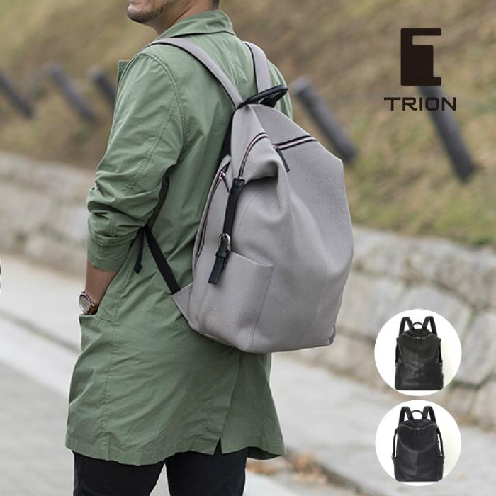 トライオン TRION レザーリュック 大容量 本革 バックパック ブラック ネイビー DT211 シボ革 A4 リュックサック 出張 メンズバッグ レディースバッグ