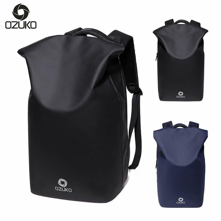 OZUKO バックパック リュック サック カジュアルバッグ スクールバッグ 通勤バッグ 大容量 1泊 2泊 旅行 ジム 自転車 カバン 鞄 カバン レジャー ブラック ネイビー プレゼント ギフト 機能性 ポケット