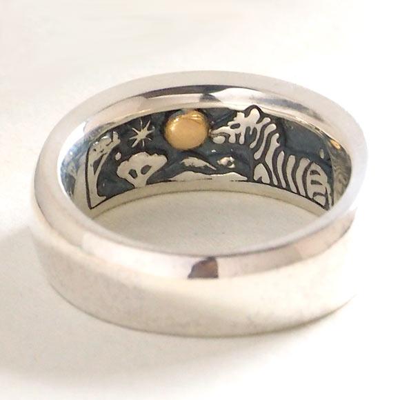 moge(モゲ) シルバーアクセサリー 同じ月を見てた -シマウマ- シルバーリング 8mm [mo-R-056] アクセサリー作家・山口光司さんの手作りアクセサリー・ハンドメイドジュエリー・ペアリング・指輪 満月 星 スター 動物 アニマル メンズ レディース 日本製 国産
