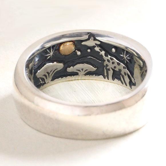 moge(モゲ) シルバーアクセサリー 同じ月を見てた -キリン- シルバーリング 8mm [mo-R-058] アクセサリー作家・山口光司さんの手作りアクセサリー・ハンドメイドジュエリー・ペアリング・指輪 満月 星 スター 動物 アニマル メンズ レディース 日本製 国産