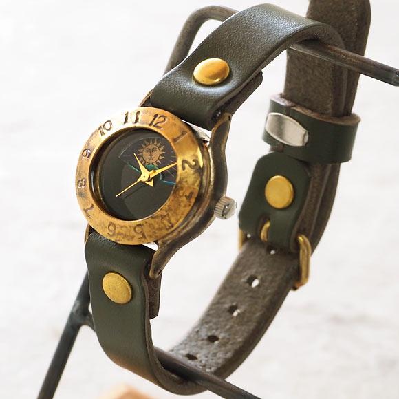 """渡辺工房 手作り腕時計 """"StrapLady-B-SUN&MOON""""レディースブラス カラーダイヤル グリーン [NW-289SM-GR] 時計作家・渡辺正明さんのハンドメイドウォッチ ハンドメイド腕時計 手作り時計 本革ベルト 真鍮 アンティーク調 レトロ アナログ 日本製 刻印・名入れ無料"""