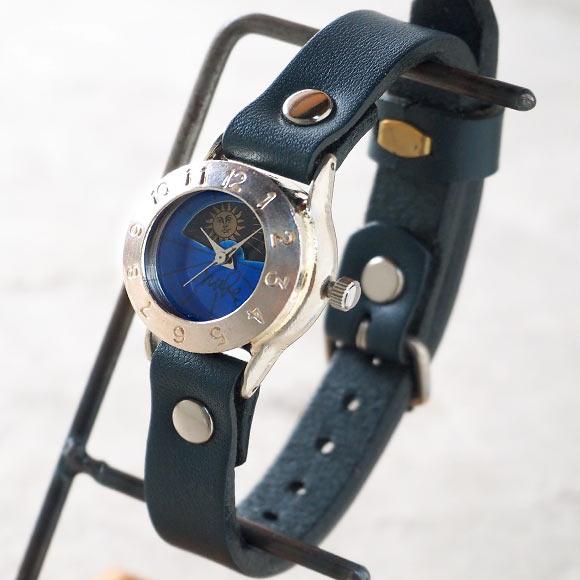 """渡辺工房 手作り腕時計 """"StrapLady-S-SUN&MOON""""レディースシルバー カラーダイヤル ブルー [NW-289SV-SM-BL] 時計作家・渡辺正明さんのハンドメイドウォッチ ハンドメイド腕時計 手作り時計 本革ベルト レトロ アナログ 日本製 刻印・名入れ無料"""