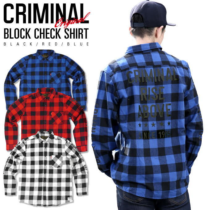 80d43ad17 Criminal original long sleeve check shirt black white red blue red black  blue print casual CHECK mens large
