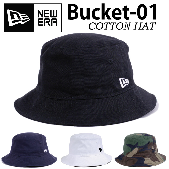 NEW ERA new era bucket Hat cotton BUCKET HAT BUCKET-01 zero Hat gender  unisex outdoor festivals mountain Safari Hat Black White Navy Camo  camouflage mens ... 7de09527444