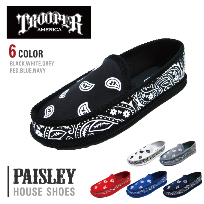 The TROOPER shoes true per SHOES Paisley pattern House shoes bandana PAISLEY BANDANA HOUSE SHOES