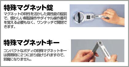 扉の開閉は特殊マグネットキーを差し込み、ハンドルを操作するだけ。