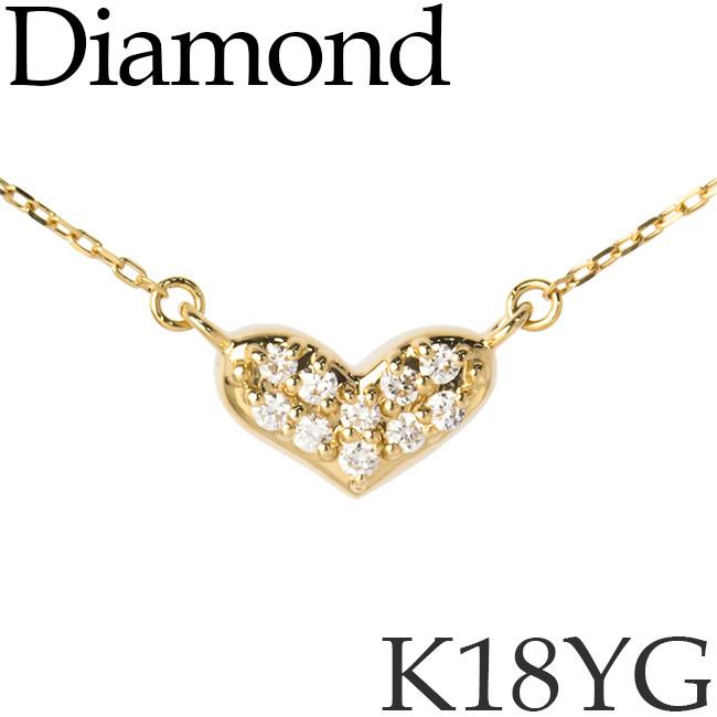 ダイヤモンド ネックレス K18イエローゴールド ハート カットアズキチェーン K18YG 18KYG 18金 [kh] 送料無料