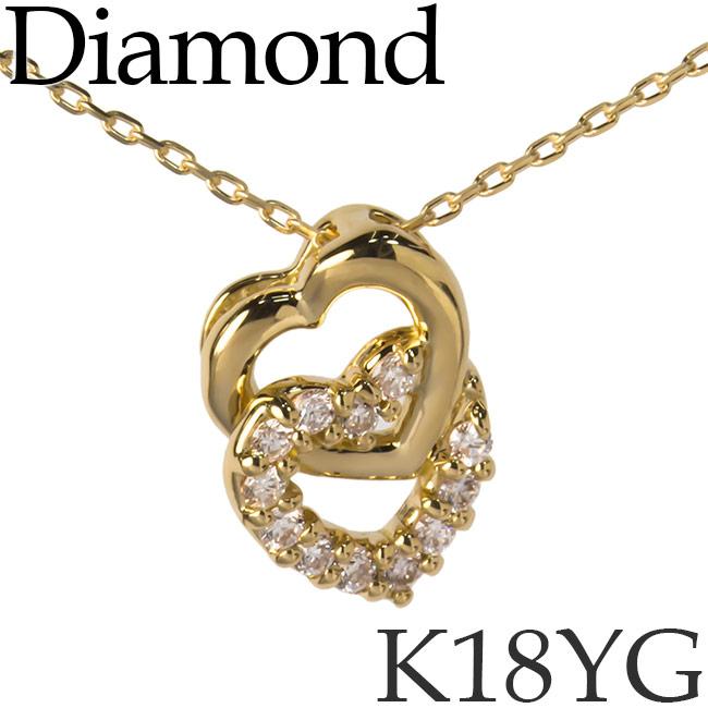 ダイヤモンド ネックレス K18イエローゴールド ダブルハート カットアズキチェーン K18YG 18KYG 18金 送料無料 [kh][62172654]