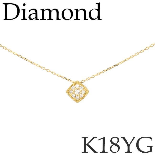 ダイヤモンド ネックレス スクエア ミル打ち K18イエローゴールド カットアズキチェーン K18YG 18KYG 18金 送料無料