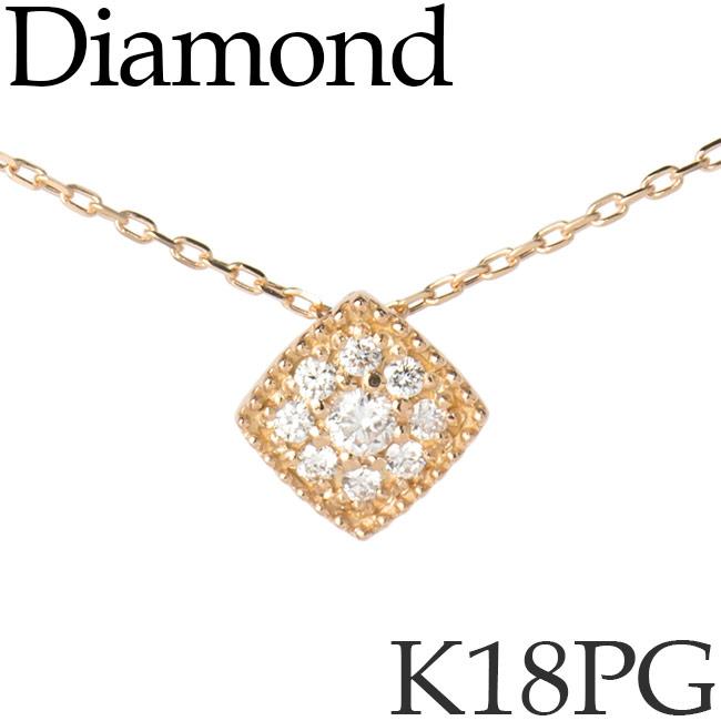 ダイヤモンド ネックレス スクエア ミル打ち K18ピンクゴールド カットアズキチェーン K18PG 18KPG 18金 送料無料