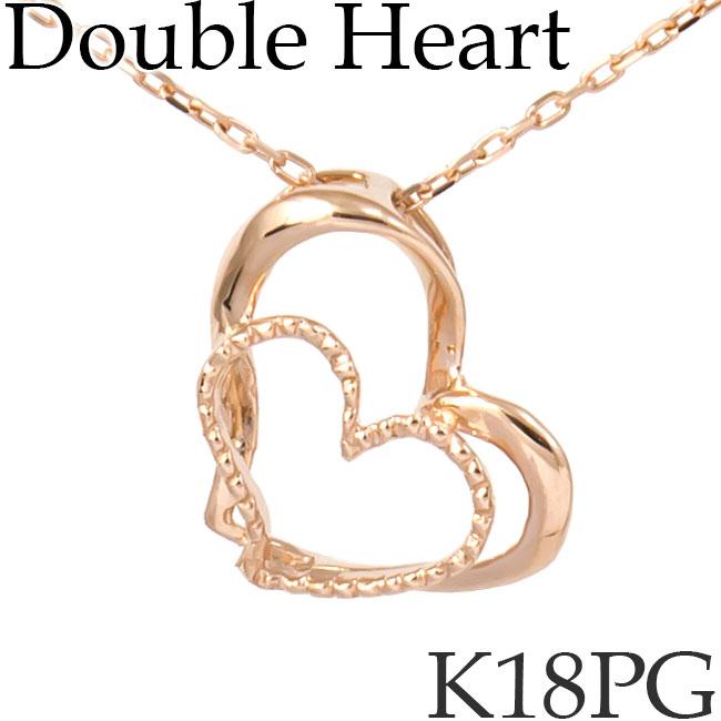 ダブルハート ネックレス K18ピンクゴールド カットアズキチェーン オープンハート Double Open Heart K18PG 18KPG 18金 送料無料