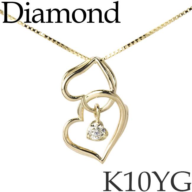 揺れるダイヤモンド ネックレス スイングスター ダブルハート K10イエローゴールド ベネチアンチェーン K10YG 10KYG 10金 送料無料