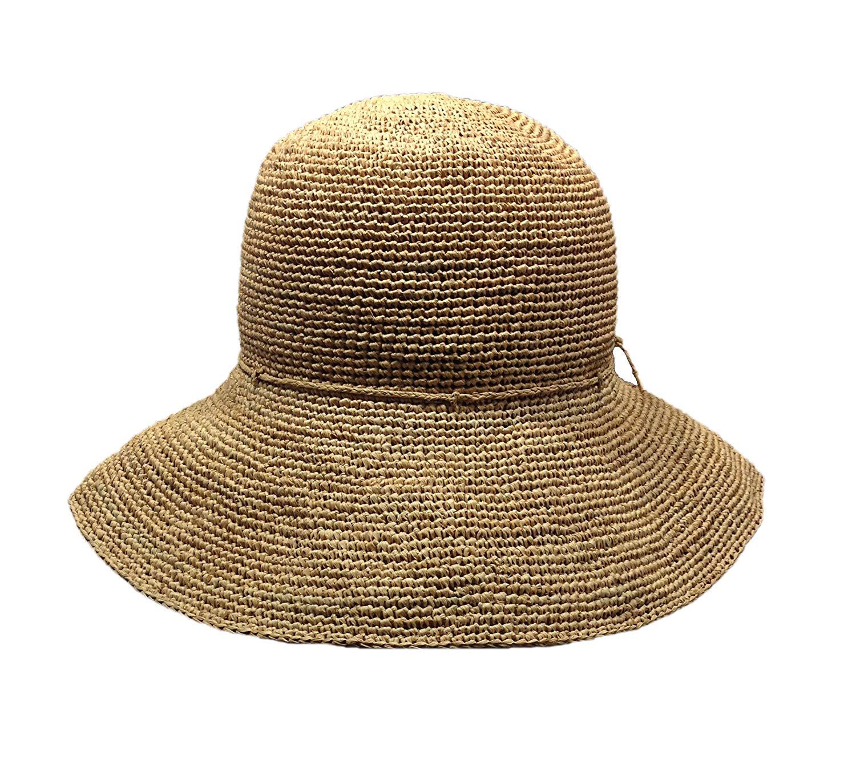 取り外しできるコサージュ付き マダガスカルラフィアの手編み ギフト包装不可 フラワーハット 最新 限定特価