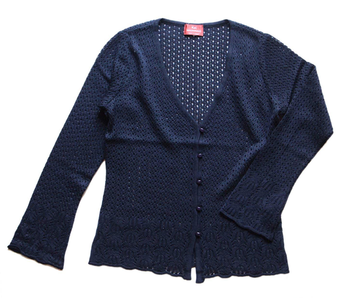 うっとりしちゃう美しい模様編み♪すかし柄カーディガン(返品・交換・ギフト包装不可)