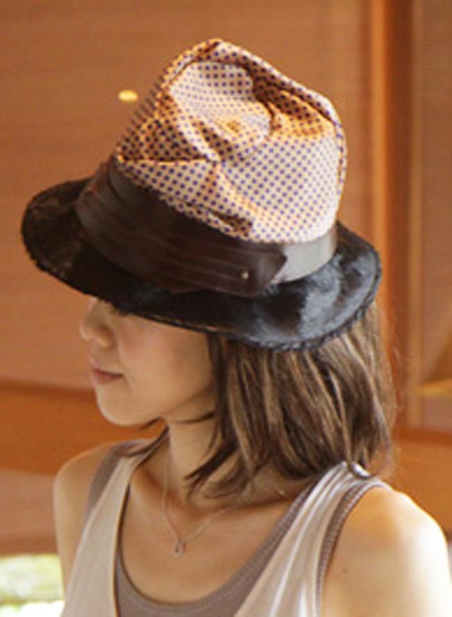 ドットサテン×ハラコプリムハット(帽子)[La Luz Del Golla]【送料無料】【smtb-k】【w4】