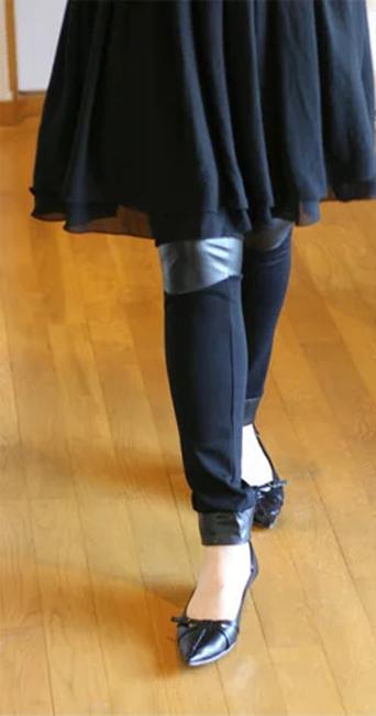 ☆詰め放題福袋チケット対象商品☆ニーパッチレザー調レギンス[Re.Verofonna・ヴェロフォンナ](返品・交換・ギフト包装不可)【送料無料】【smtb-k】【w4】k