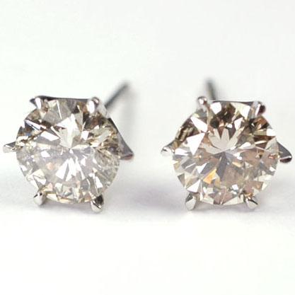 プラチナ ダイヤモンド ピアス 一粒 1カラット プラチナ・ダイヤモンド1.0ct スタッドピアス
