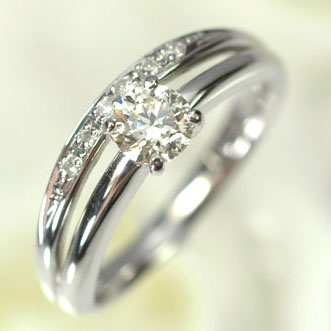 プラチナ ダイヤモンド リング プラチナ・ダイヤモンド(Hカラー・SI2・鑑定書カード付)0.3ctUP ダブルリング(指輪) ダイヤモンド指輪