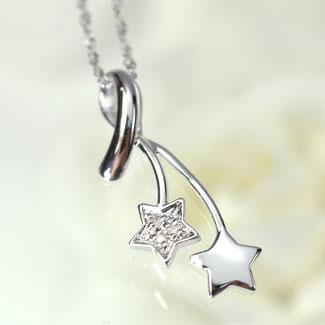 ダイヤモンド ネックレスK14WG・ダイヤモンド シューティングスターペンダント ネックレス0wXPO8kn