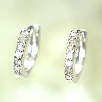 ダイヤモンド ピアス K14WG・ダイヤモンド0.1ct フープピアス