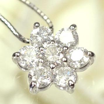 ダイヤモンド ネックレス K18WG・ダイヤ1.0ct フラワーペンダント(ネックレス)