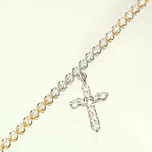 ダイヤモンド ブレスレット K18PG・K18WG・K18YG・ダイヤ1.0ct 3カラークロス付ブレスレット