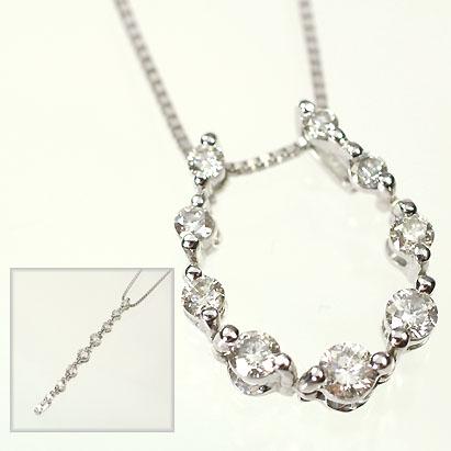 ダイヤモンド ネックレス K18WG・ダイヤ0.5ct 3WAYペンダント(ネックレス)