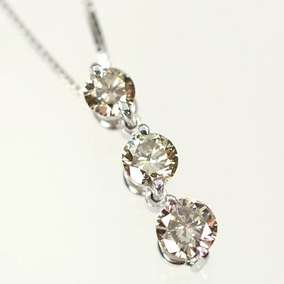 ダイヤモンド ネックレス スリーストーン K18WG・ダイヤ0.3ct スリーストーンペンダント(ネックレス)
