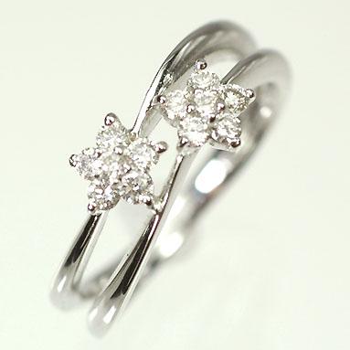 ダイヤモンド リング K18WG ダイヤモンド0.31ct ダブルフラワーリング 指輪 ダイヤモンド指輪 名入れ お彼岸 プレゼント 景品 月末バーゲンセール