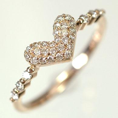 ダイヤモンド リング ピンクゴールドリング K18PG・ダイヤモンド0.25ct ハートパヴェリング(指輪) ダイヤモンド指輪