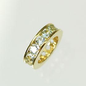 【3月の誕生石】K18・アクアマリン 誕生石ベビーリング(指輪) エタニティータイプ 送料無料