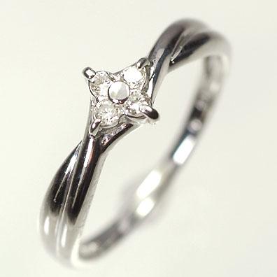 ダイヤモンド リングK18WG・ダイヤモンド0.08ct フラワーリング(指輪) ダイヤモンド指輪