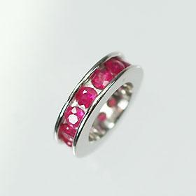 【7月の誕生石】K18WG・ルビー 誕生石ベビーリング(指輪) エタニティータイプ 送料無料