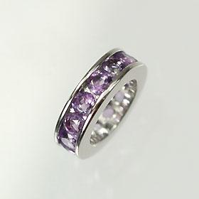 【2月の誕生石】K18WG・アメジスト 誕生石ベビーリング(指輪) エタニティータイプ 送料無料