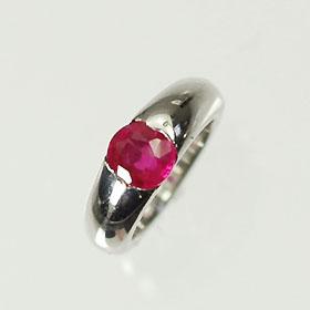 【7月の誕生石】K18WG・ルビー 誕生石ベビーリング(指輪) 一粒タイプ 送料無料