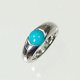 【12月の誕生石】K18WG・トルコ石 誕生石ベビーリング(指輪) 一粒タイプ 送料無料