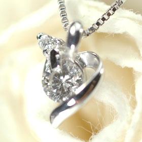 【4月の誕生石】K18WG・ダイヤモンド エンジェルハートペンダント(ネックレス)