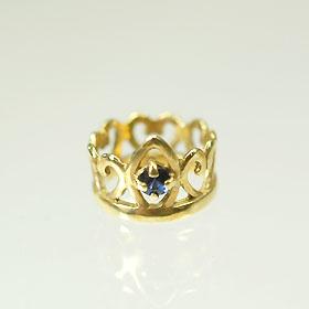 K18・サファイア 誕生石ベビーリング(指輪) プリンセスタイプ 送料無料