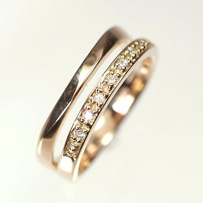 ダイヤモンド リング ピンクゴールド K18PG・ダイヤモンド0.04ct ピンキーリング(指輪) ダイヤモンド指輪