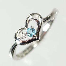 【11月の誕生石】K10WG・ブルートパーズ(ダイヤモンド入り) 誕生石オープンハートリング(指輪) 送料無料