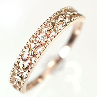 ダイヤモンド リング ピンクゴールド K10PG・ダイヤ0.01ct エレガントリング(指輪) ダイヤモンド指輪